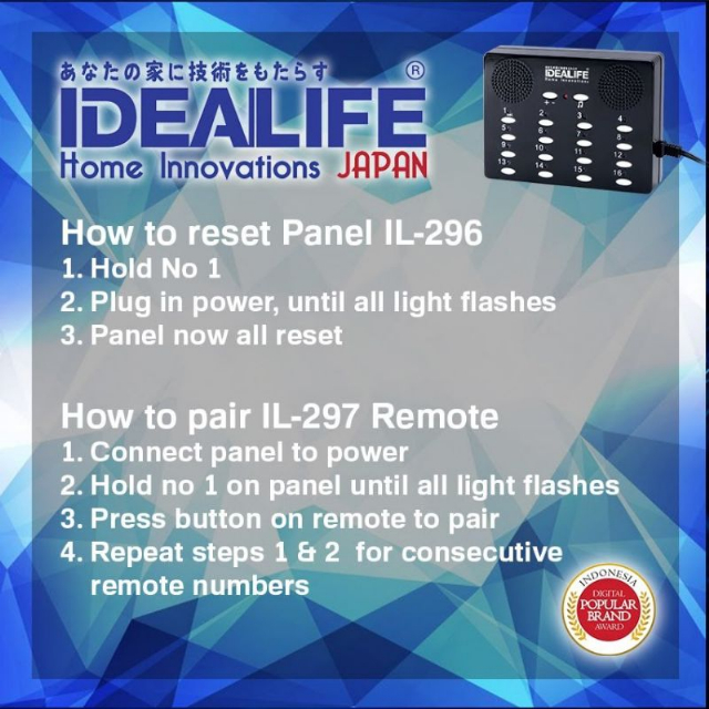 Remote Wireless Calling System (IL-297) / Bell Tanpa Kabel | IDEALIFE3