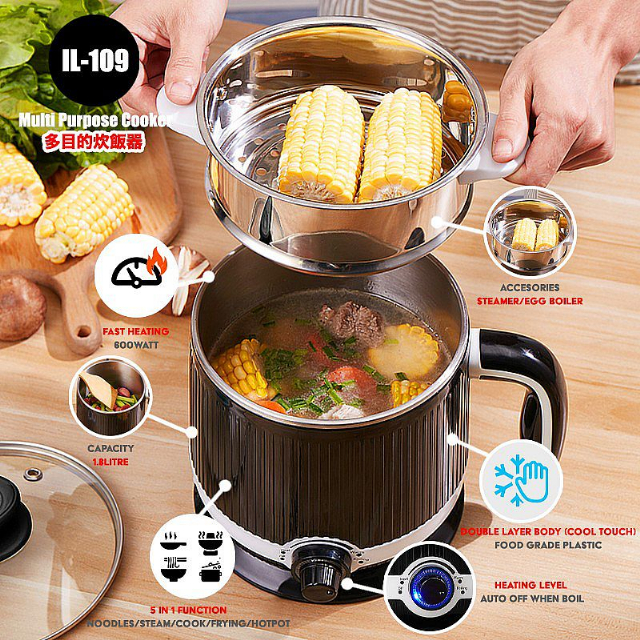Multicooker Electric Kettle 1.8 Liter (IL-109) / Panci Masak Serbaguna | IDEALIFE