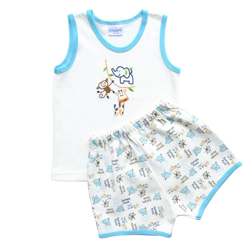 Baju Bayi Setelan Motif Bordir Jungle Fun