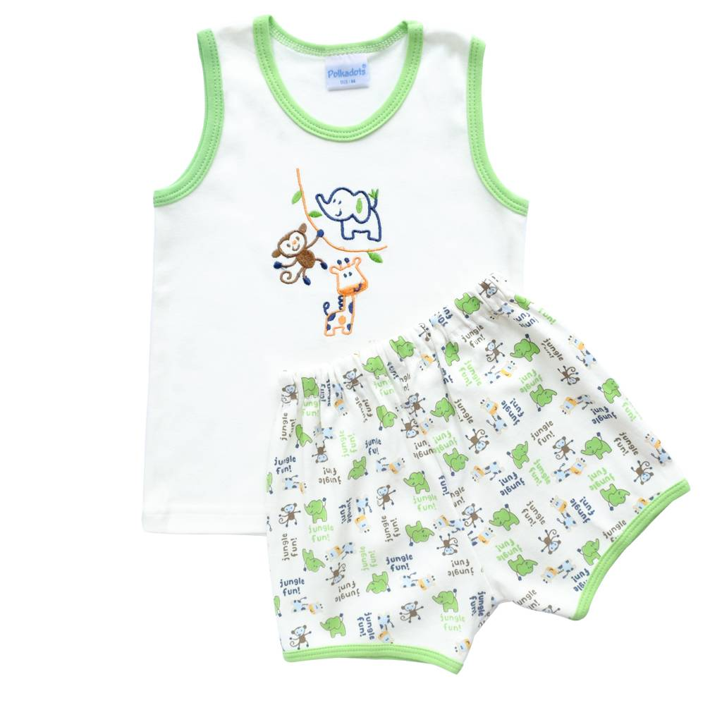 Baju Bayi Setelan Motif Bordir Jungle Fun1