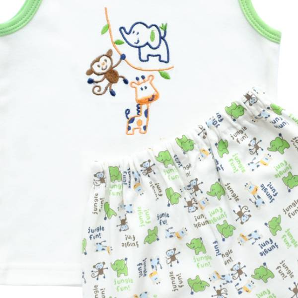Baju Bayi Setelan Motif Bordir Jungle Fun2
