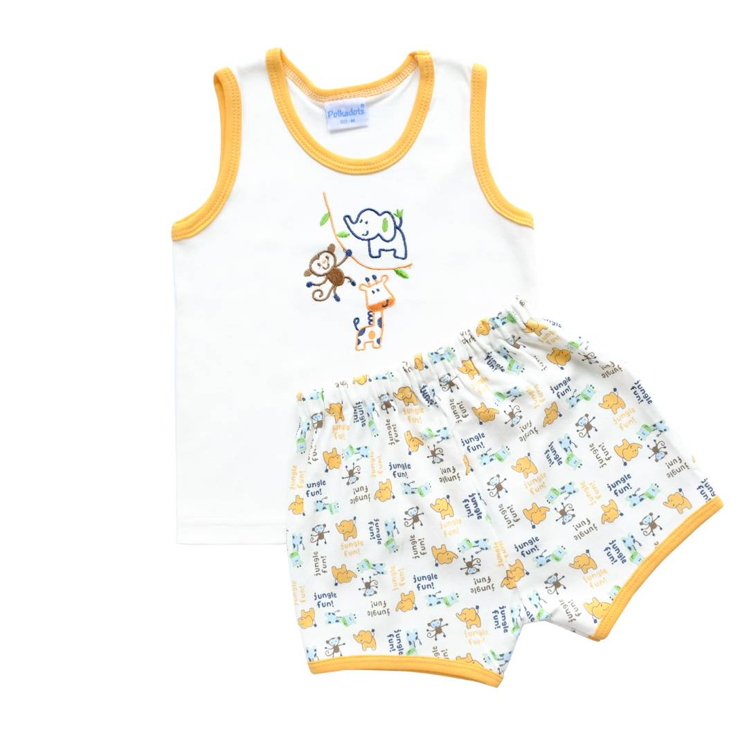 Baju Bayi Setelan Motif Bordir Jungle Fun3