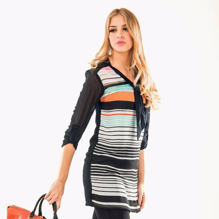 Beyounique Tie Up Multi Stripe Tunic.1