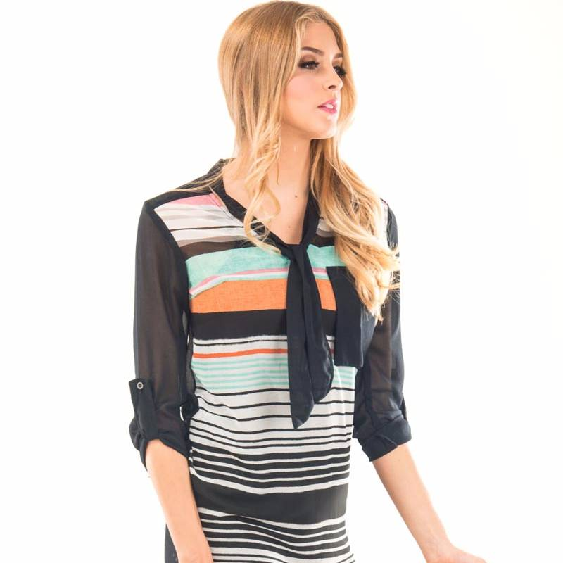 Beyounique Tie Up Multi Stripe Tunic.2