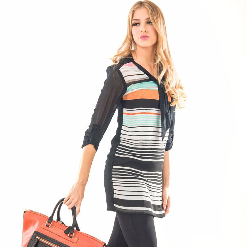 Beyounique Tie Up Multi Stripe Tunic.3