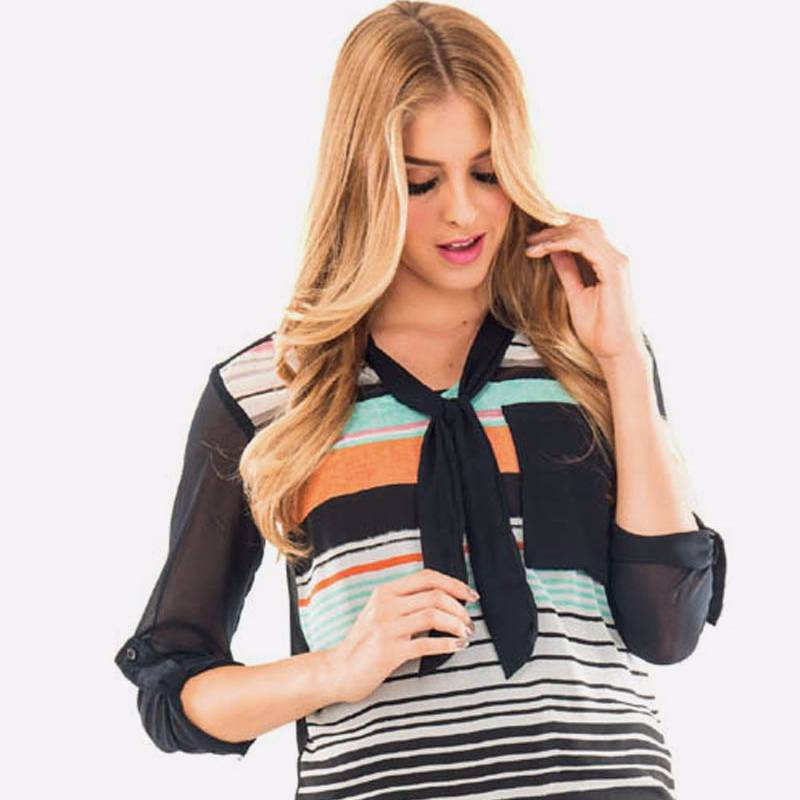 Beyounique Tie Up Multi Stripe Tunic.4