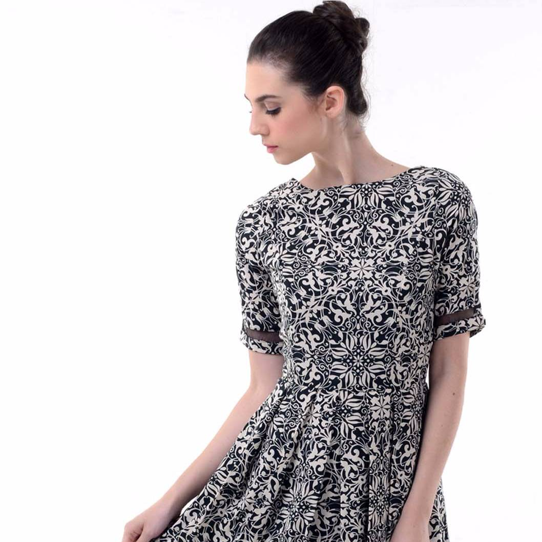 Beyounique Batik Dress With Organdy Combination2