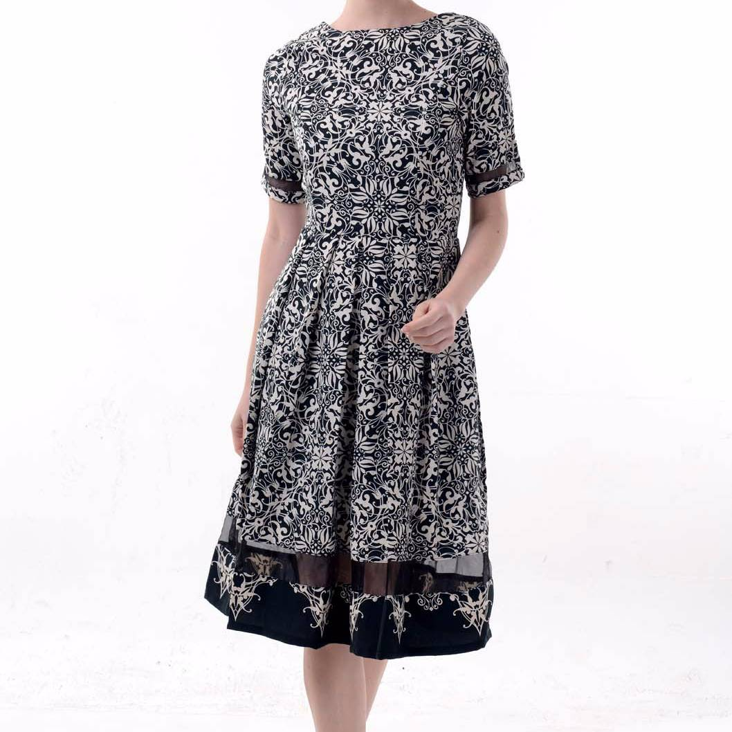 Beyounique Batik Dress With Organdy Combination4