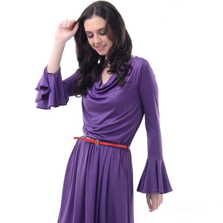 Beyounique Bell Sleeve Knit Dress With Organdy Combination1