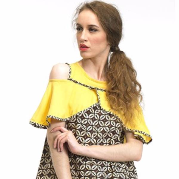 Beyounique Cut Out Flare Sleeve Blouse Batik Combination