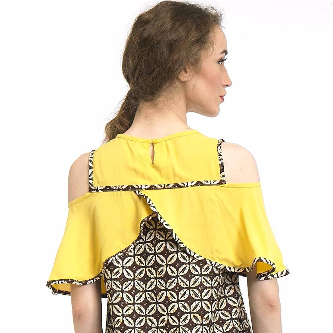 Beyounique Cut Out Flare Sleeve Blouse Batik Combination1