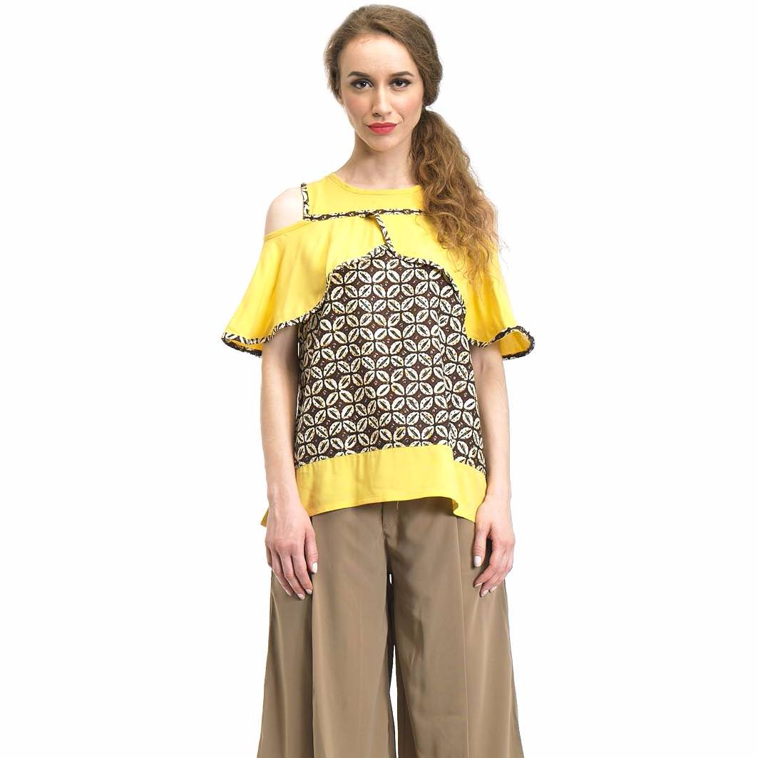 Beyounique Cut Out Flare Sleeve Blouse Batik Combination2