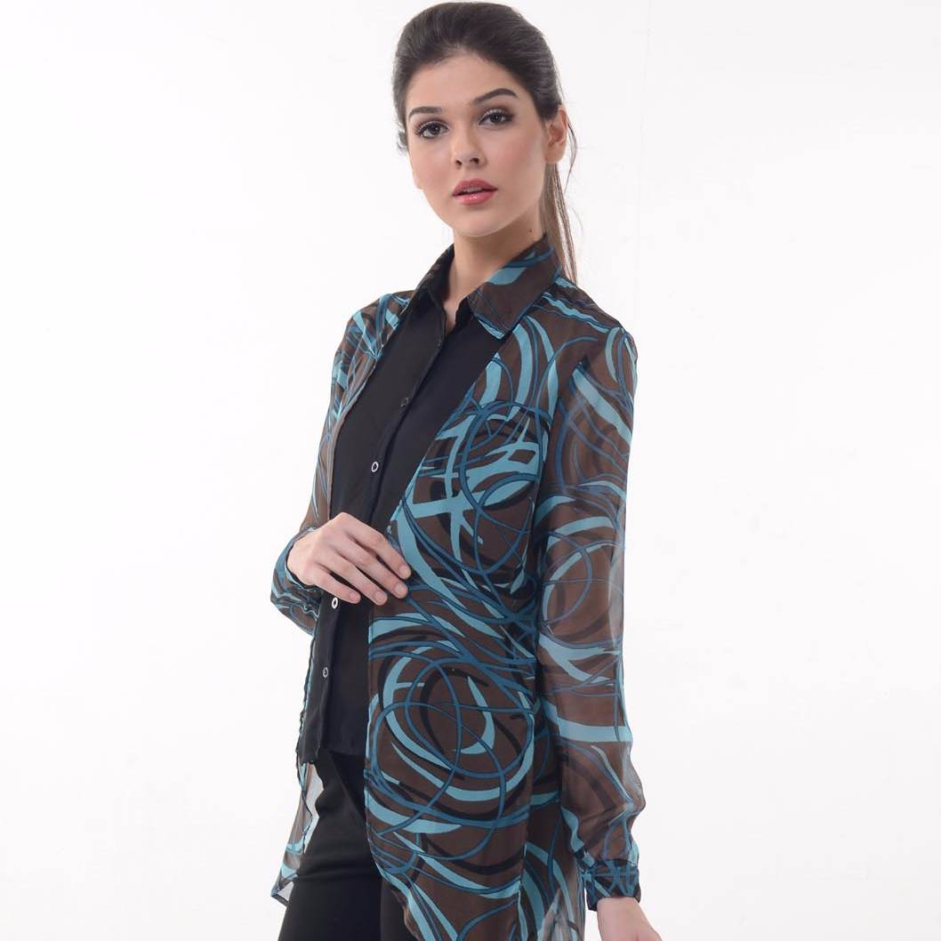 Beyounique Double Layer Abstract Print Tunic0