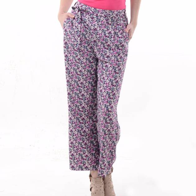 Beyounique Flower Print Long Pant With Belt.