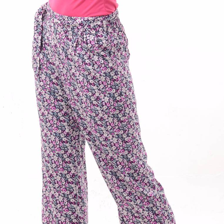 Beyounique Flower Print Long Pant With Belt.1