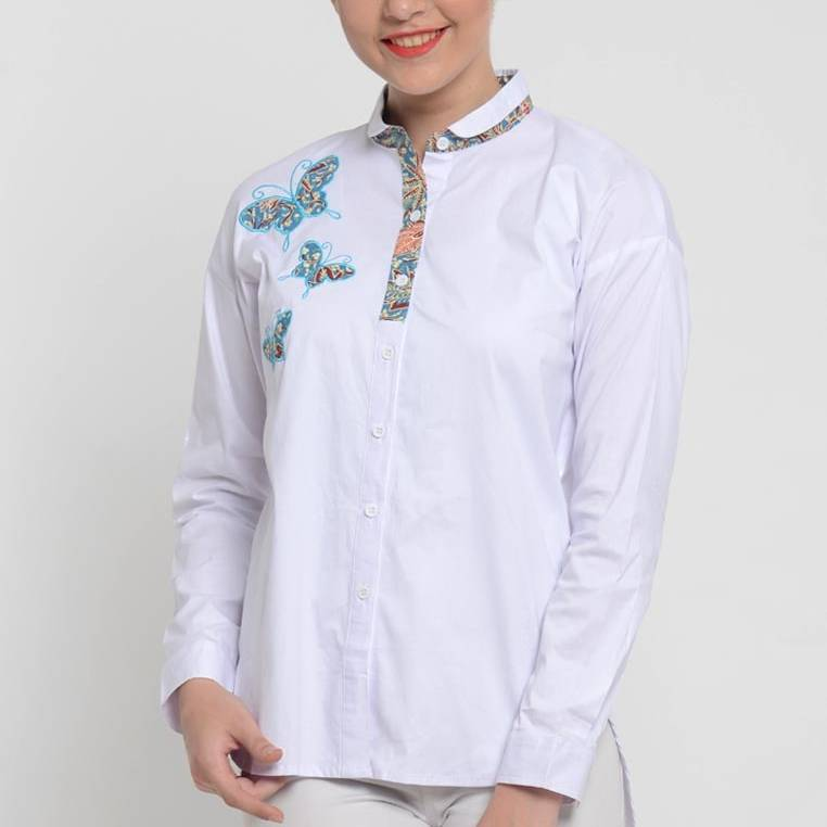 Beyounique Shirt With Batik Combination And Application (grosir Paket 6)