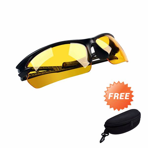 Kacamata Night Driving Glasses Grade Aa - Free Hard Case