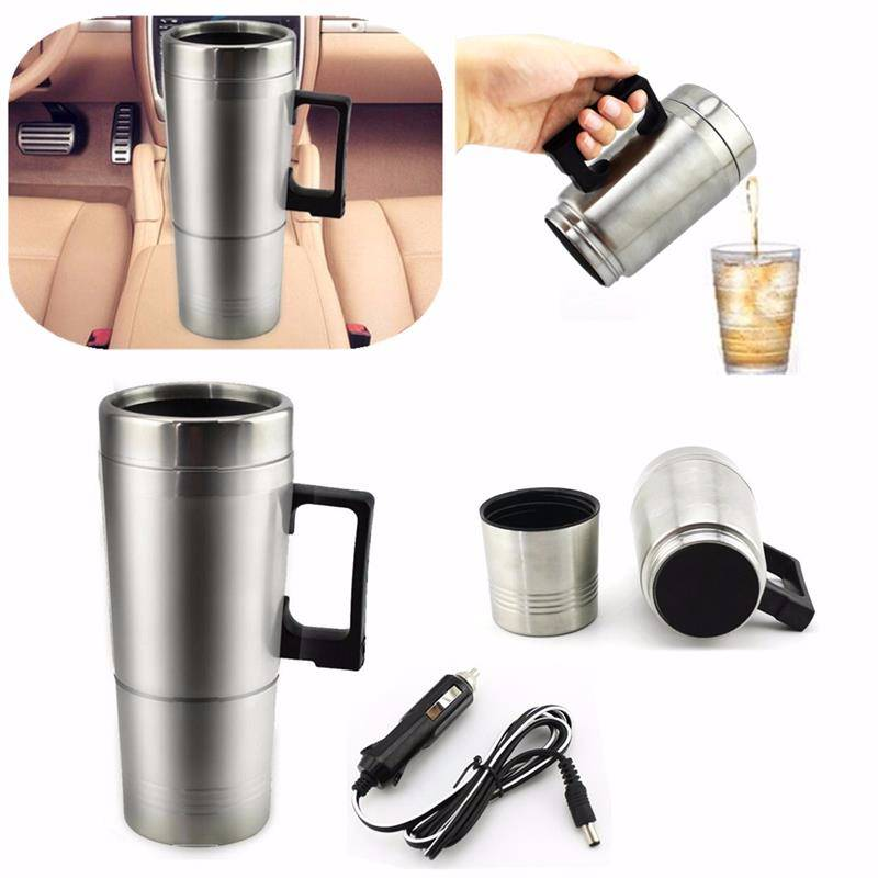Stainless Steel Car Mug Charger / Hangat & Panas Portable Gelas Mobil