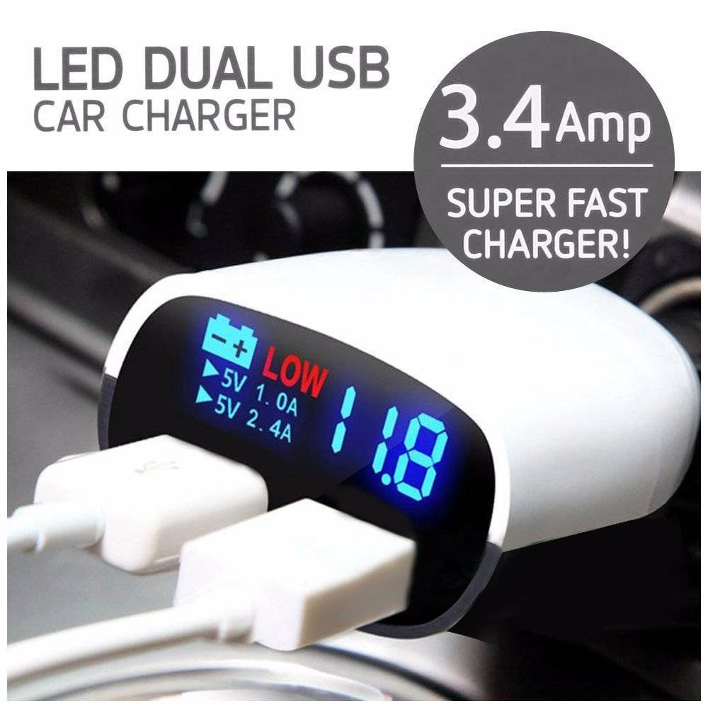 Super Fast Charger Led Dual Usb 3.4a / Charger Mobil Fast Charging