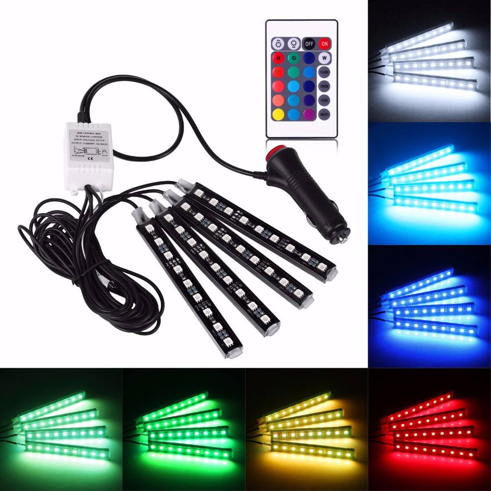 4 Pcs Drl Led Kolong / Lampu Dekorasi Dashboard 16 Warna + Remote
