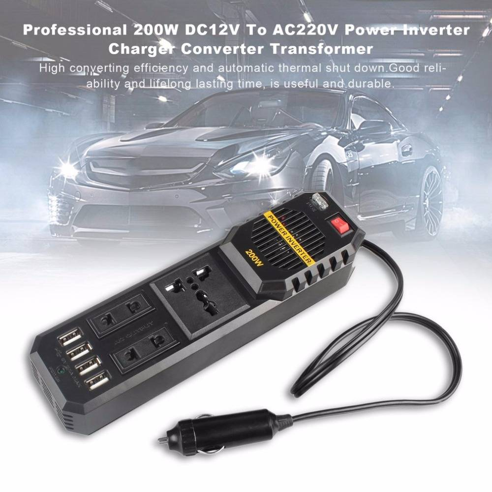 200w 12v Power Inverter Car Adaptor Charger Converter - Charger Mobil