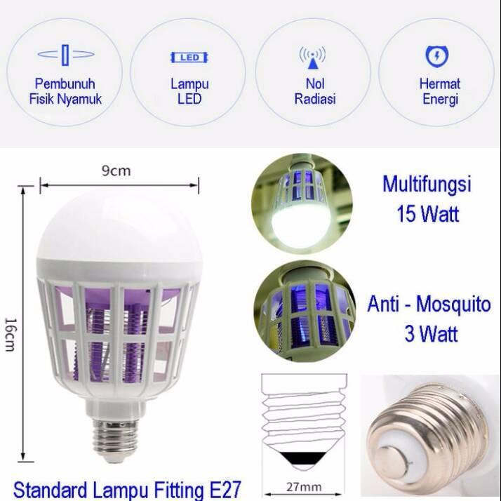 Lampu Led 2 In 1 (anti Nyamuk) Gratis Saklar Listrik !!!2
