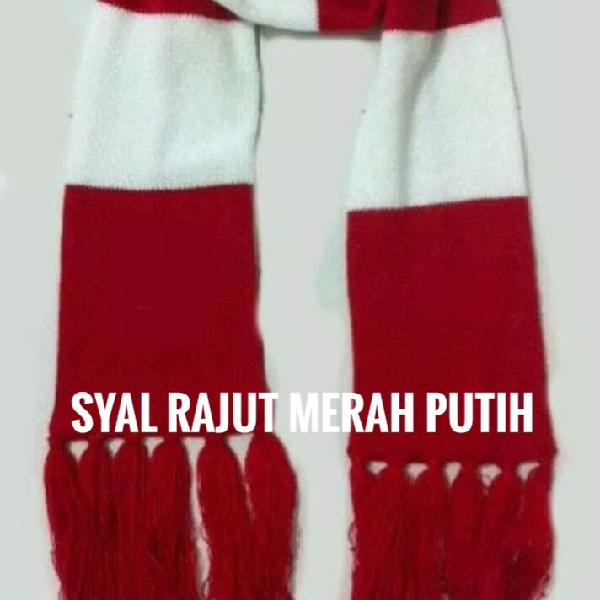 Syal Rajut 2 Warna (merah & Putih)