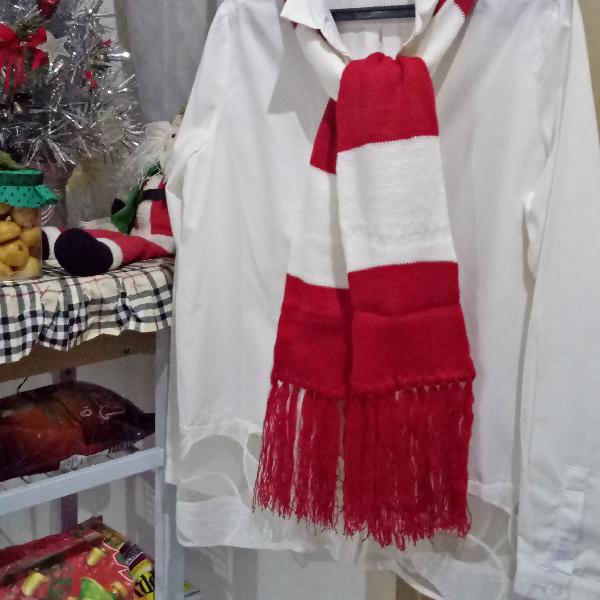 Syal Rajut 2 Warna (merah & Putih)1