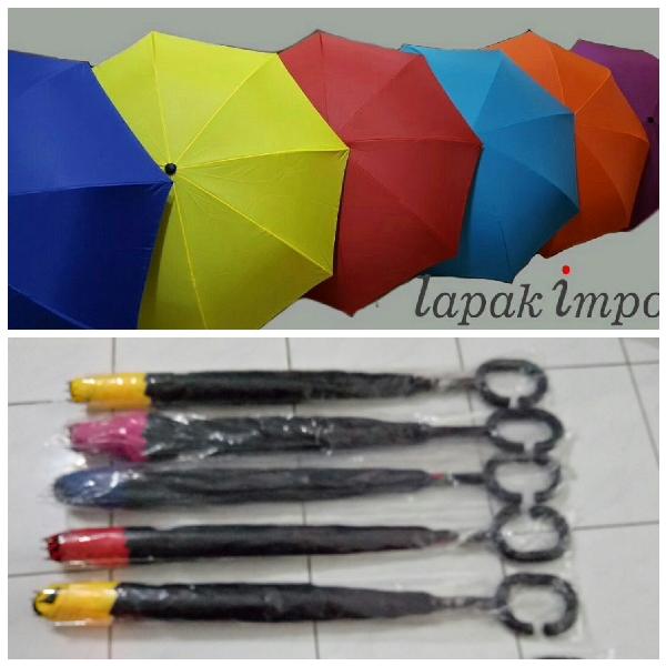 Payung Terbalik Polos Exclusive (Bagian Luar berwarna)