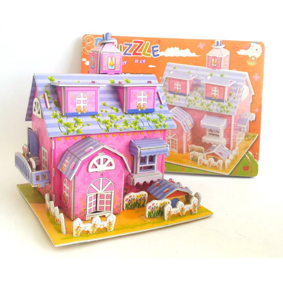 Mainan 3d Puzzle - Pink House