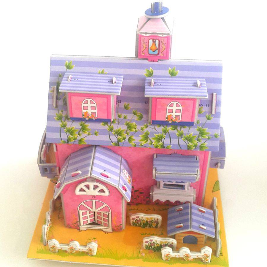 Mainan 3d Puzzle - Pink House1