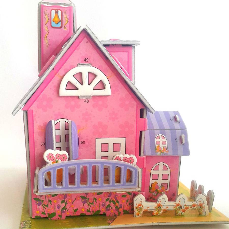 Mainan 3d Puzzle - Pink House2