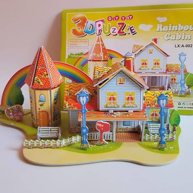 Mainan 3D Puzzle RAINBOW CABIN | Hadiah Ultah | Puzzle 3 Dimensi