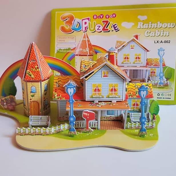 Mainan 3D Puzzle RAINBOW CABIN | Hadiah Ultah | Puzzle 3 Dimensi1