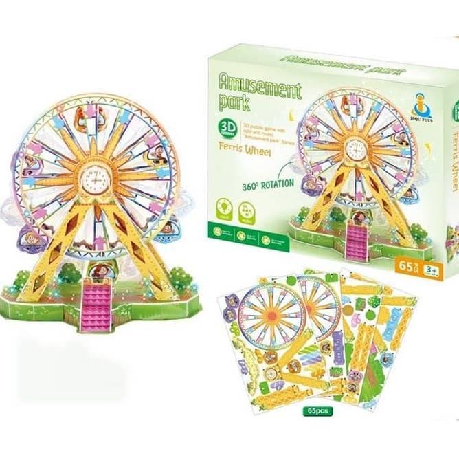 3D Puzzle Ferris wheel / Kincir Ria + Lampu + Musik + Bisa Berputar