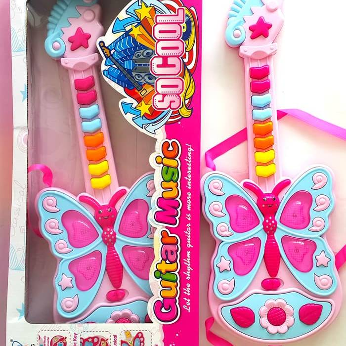 Mainan Gitar Musik | Musical Butterfly Guitar With Lights And Sound