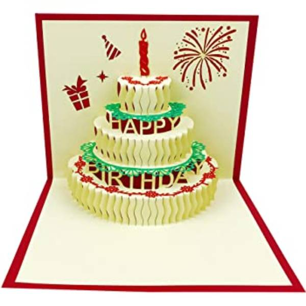 Greeting Card 3D - BIRTHDAY CAKE - Kartu Ucapan 3 Dimensi - K500