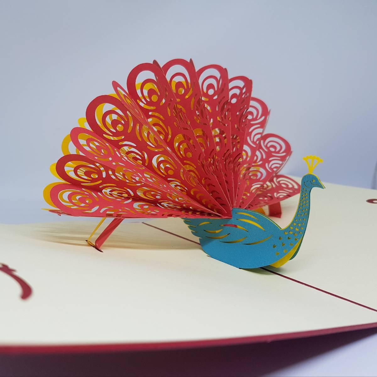 POP UP 3D CARD - Kartu Ucapan 3 Dimensi PEACOCK Greeting Card1