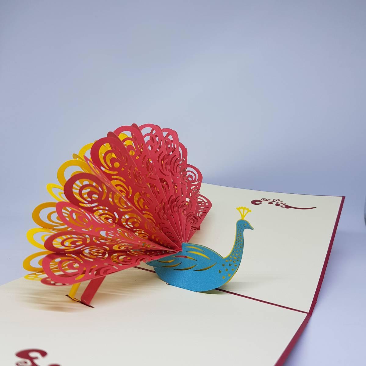 POP UP 3D CARD - Kartu Ucapan 3 Dimensi PEACOCK Greeting Card3