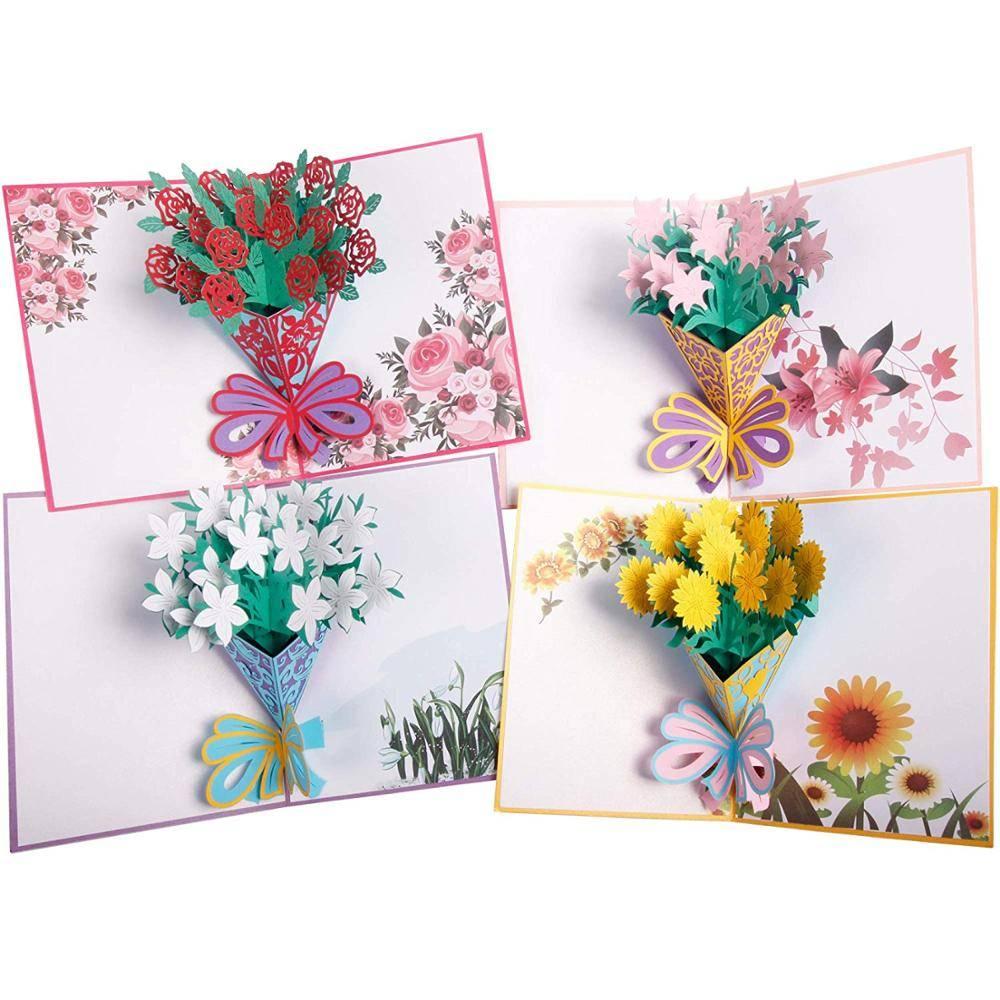 POP UP 3D CARD - Kartu Ucapan 3 Dimensi FLOWER BOUQUET - 4 Warna0