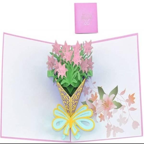 POP UP 3D CARD - Kartu Ucapan 3 Dimensi FLOWER BOUQUET - 4 Warna1