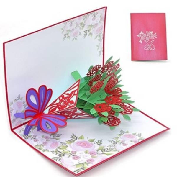 POP UP 3D CARD - Kartu Ucapan 3 Dimensi FLOWER BOUQUET - 4 Warna2