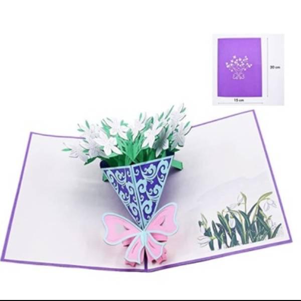 POP UP 3D CARD - Kartu Ucapan 3 Dimensi FLOWER BOUQUET - 4 Warna3