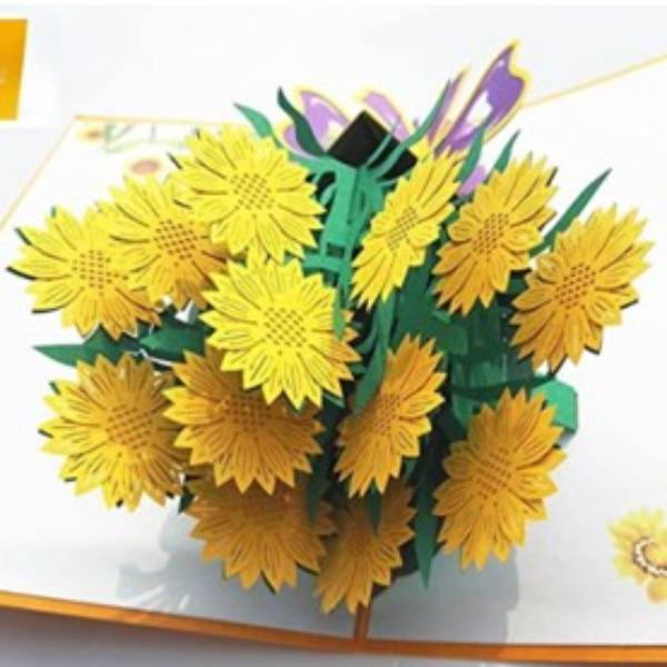 POP UP 3D CARD - Kartu Ucapan 3 Dimensi FLOWER BOUQUET - 4 Warna4