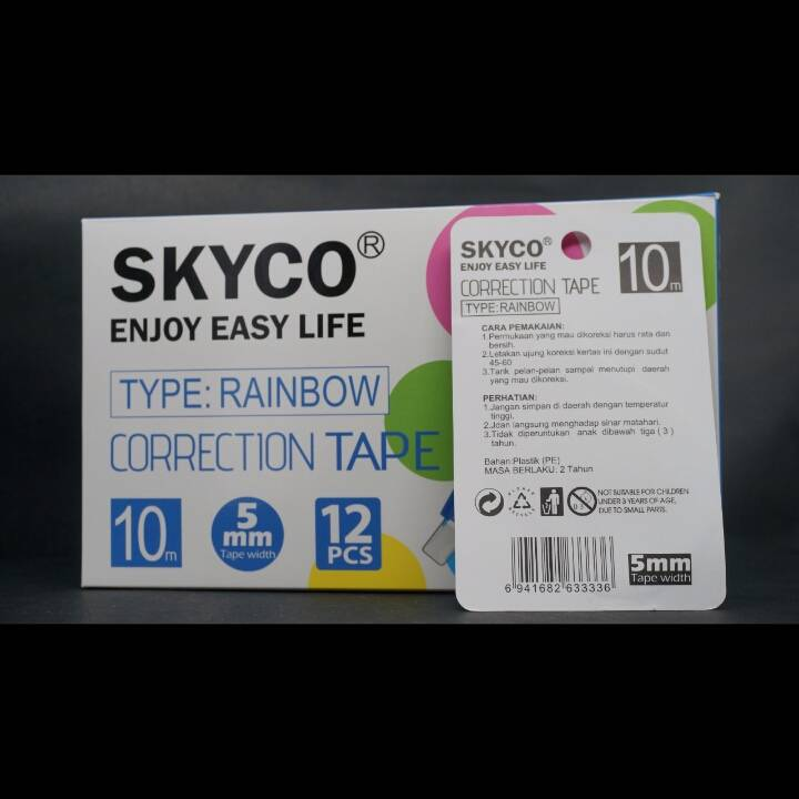 Correction Tape Skyco Rainbow Per Lusin1