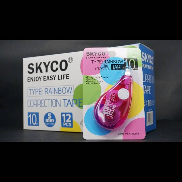 Correction Tape Skyco Rainbow Per Lusin4