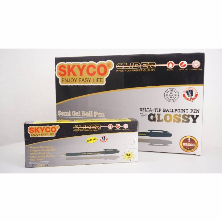 Pulpen / Pen Skyco Glossy Black Per Gross ( New Arrival !!!)