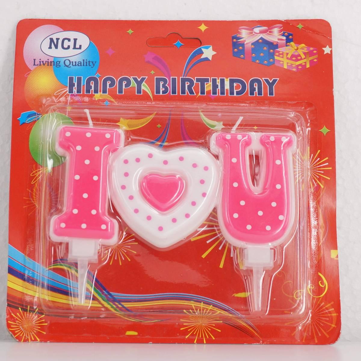 Lilin Ultah / Lilin Ulang Tahun Motif Love / I Love U