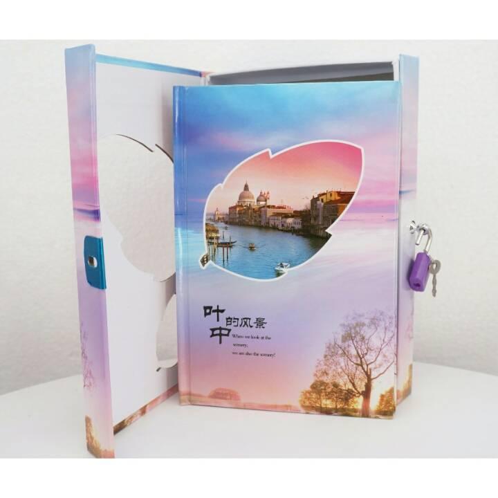 Buku Diary / Catatan With Padlock Sky Tower Leaves3