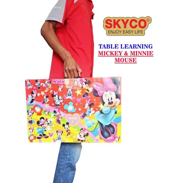 Meja Belajar Anak / Kids Table / Meja Belajar Lipat Motif Mickey Mouse0